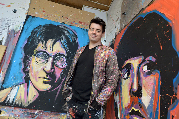Speed Painter Dave Sharp, who will be performing for North Wales Tourism, pictured in his studio in Farsley, West Yorkshire. <br /> 25.05.16