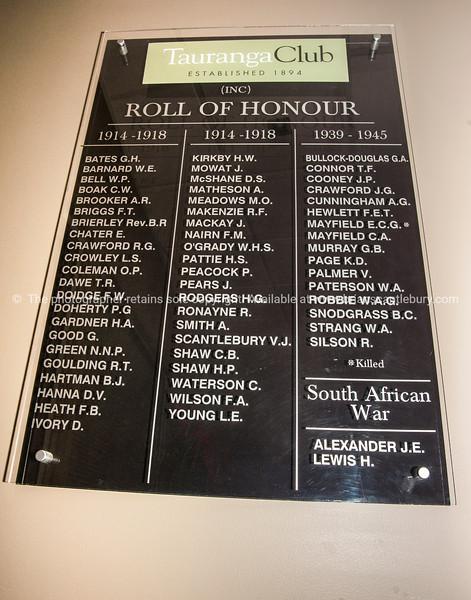 Tauranga Club Roll of Honour.