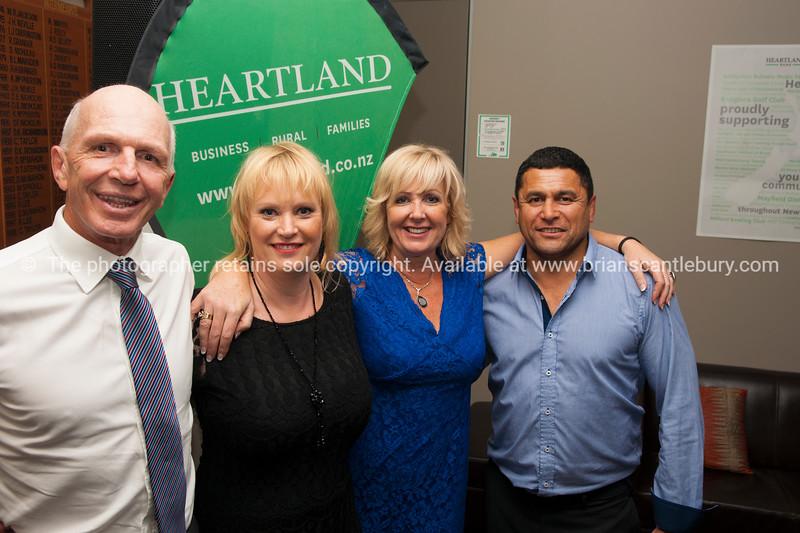 Sir Gordon Tietjens, Club President Tracey Rudduck-Gudsell, Heartland Branch Manager Deborah Lee, Former All Black Frano Botica