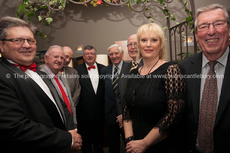 Past Presidents Andrew von Dadleszen, Jock McIntyre, Mike Chapman, Jim Smylie, Ray Goddard, Neil Pettersen and Club President Tracey Rudduck-Gudsell