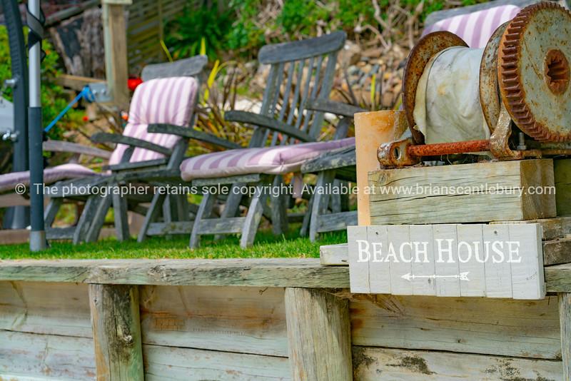 The sign  The Beach House Kawau Island.