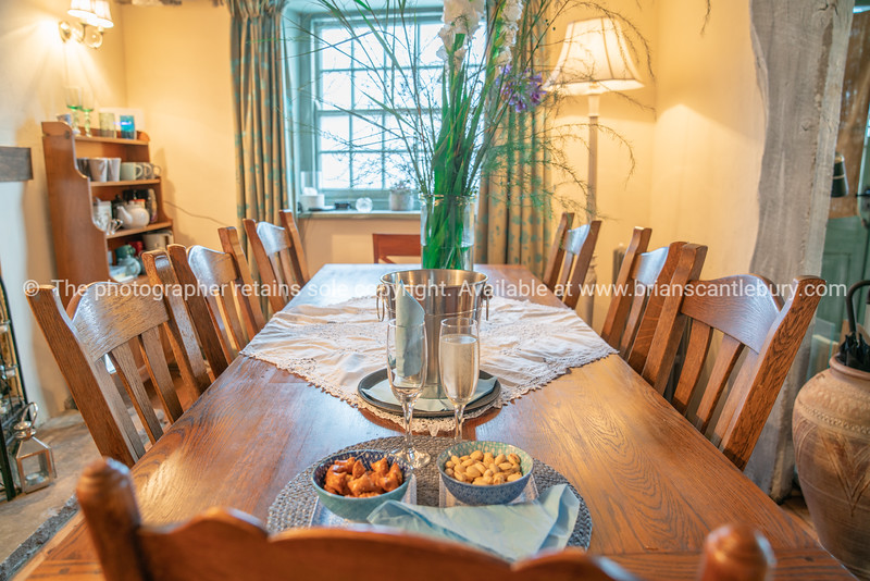 Dining room setting with table and chairs