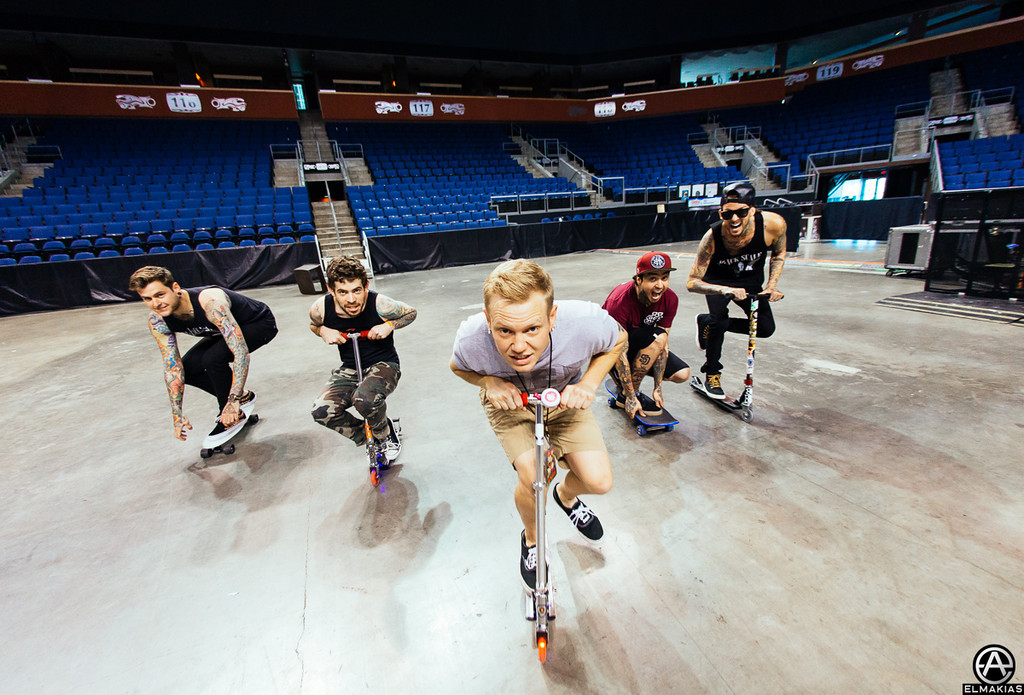 ADTR and Pierce The Veil scooter and skateboard crew