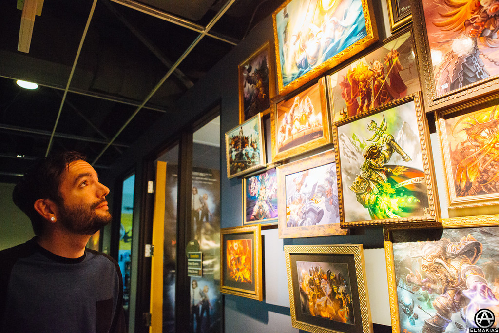 We went to Blizzard, Jeremy admiring the art