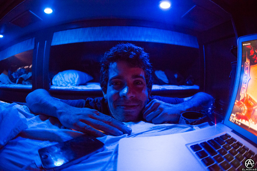 Alex visiting me in my bunk