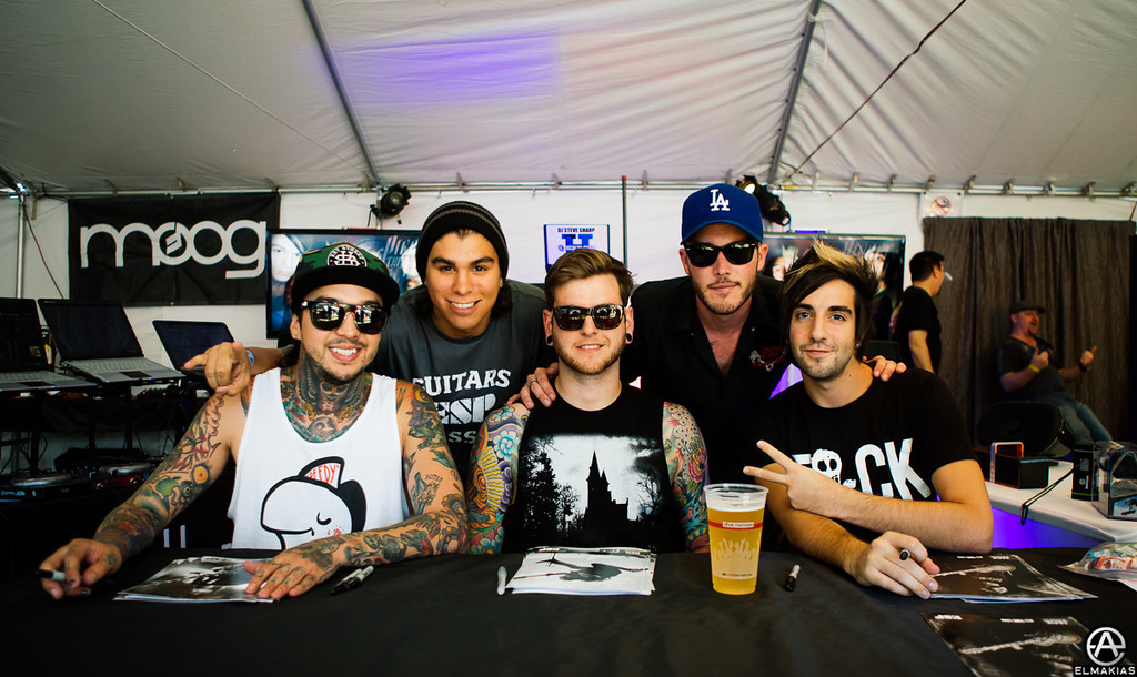 Tony Perry, Neil Westfall, and Jack Barakat with their ESP guitar people - The House Party Tour