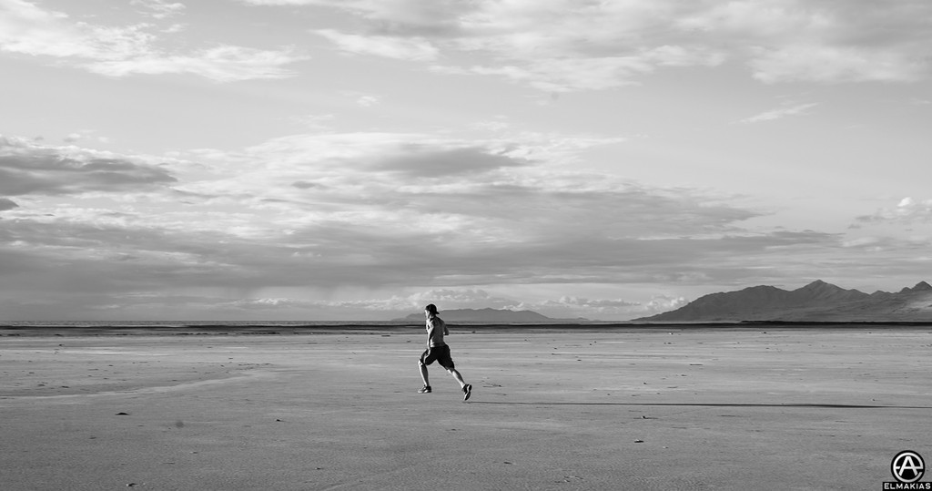 Zack works out everyday, this is him running through the salt flats, well, sprinting