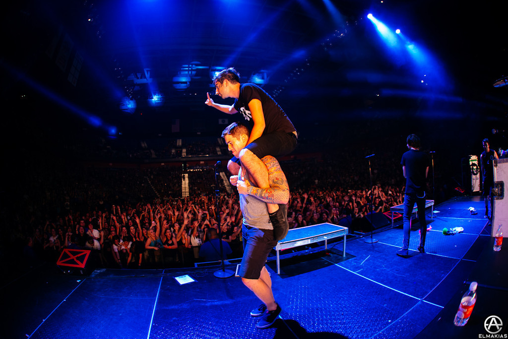 Zack giving Jack a piggy back ride off stage