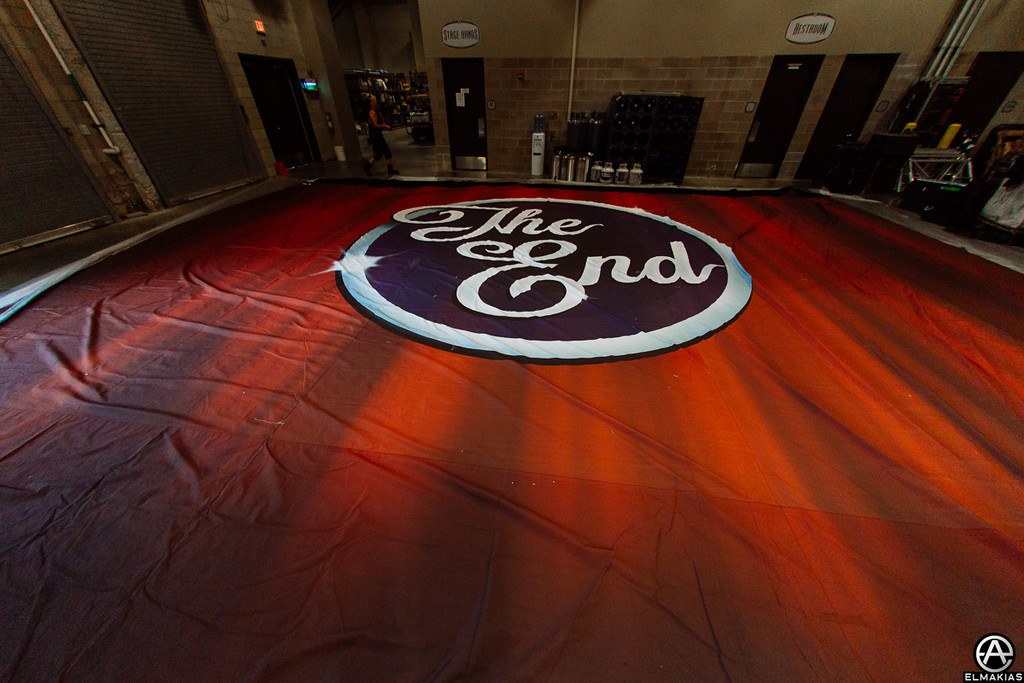 Backdrop that falls at end of the show laid out on the ground