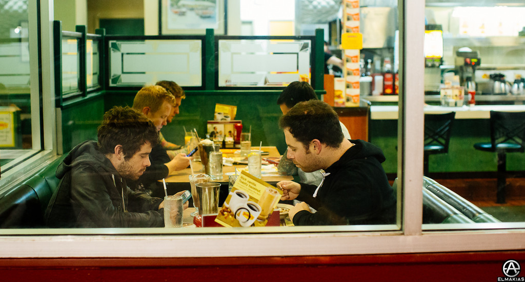 This was the night Common Courtesy came out, we went to Denny's, and they read everyone's tweets.