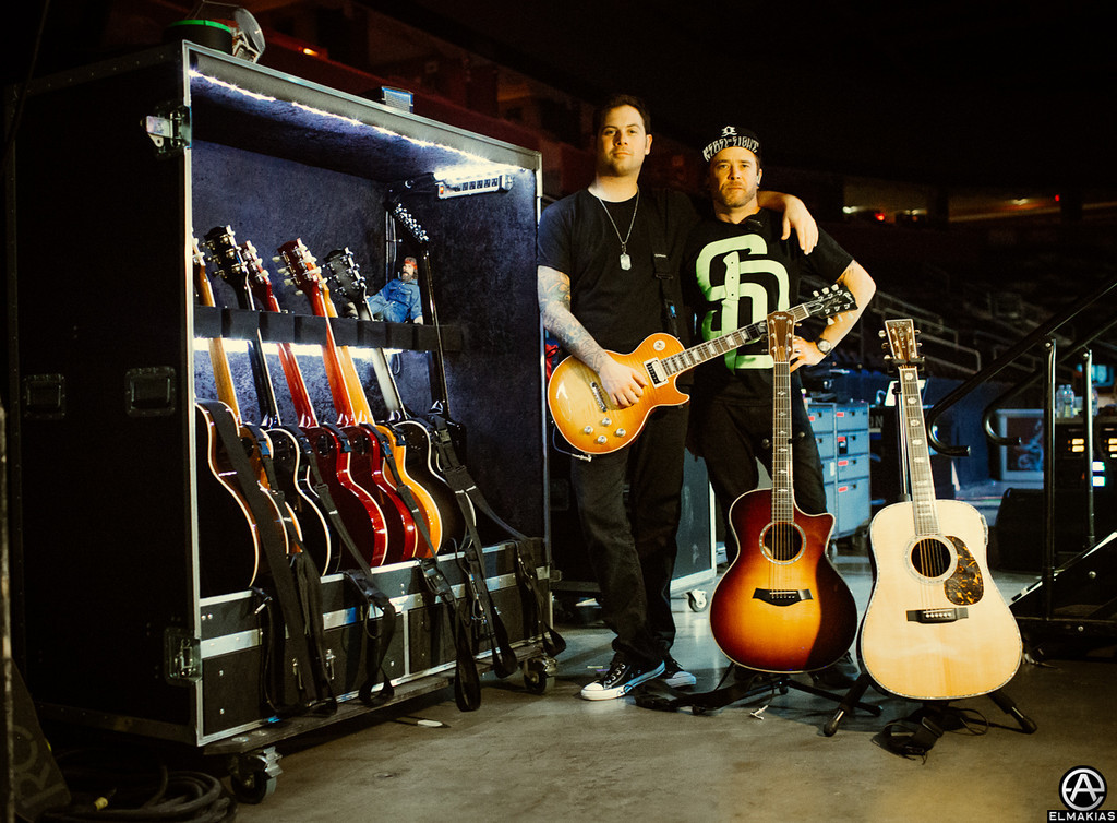 Kevin Skaff and his guitar tech Johnny Meyer