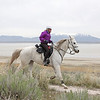 Suzie aboard Greenbriar Al Jabal (Atlas) at the April 2018 Antelope Island ride in Utah