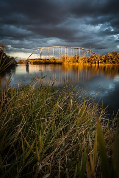 Sunset on the abandoned bridge in Forsyth