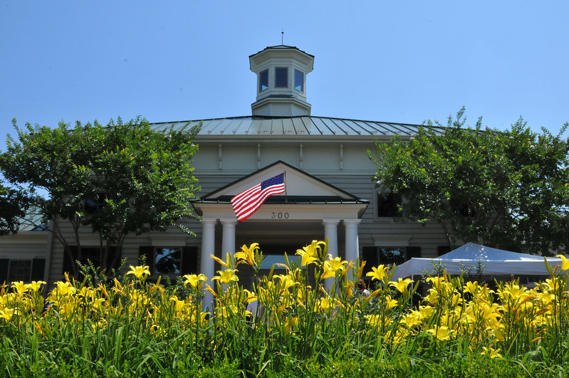 American flag waves on July 4th at the clubhouse in King Farms, Rockville MD
