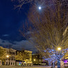 New Years moon above Main Street Park and Pavilion in the Kentlands