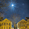 New Years moon over homes on Hart Street.