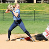 Vicinity tag on second base as QO is about to be doubled up by Clarksburg Shortstop