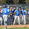 MD Commit Nick Pantos hits a grand slam against Wootton and is about to be greeted by a thankful Trojan team