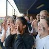 Tuscarora Varsity softball team cheers on team members at last at bat.  Tuscarora fell to Broad Run 8-4