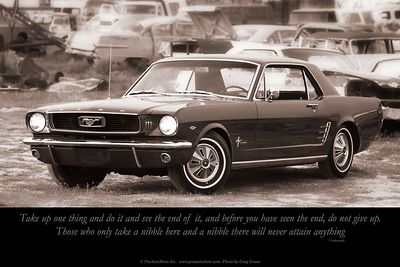 Vivekananda Quote 1966 Ford Mustang  Text reads:  Take up one thing and do it and see the end of it, and before you have seen the end, do not give up.  Those who only take a nibble here and a nibble there will never attain anything