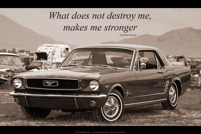 Friedrich Nietzche Quote 1966 Ford Mustang Coupe  Text reads:  What does not destroy me, makes me stronger