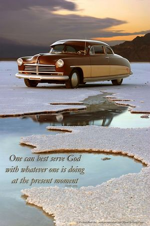 Hasidic saying 1949 Hudson Super Six Coupe  Text reads:  One can best serve God with whatever one is doing at the present moment