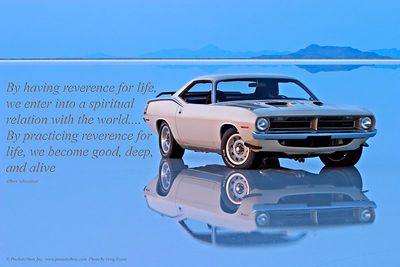 Albert Schweitzer Quote 1970 Plymouth Cuda  Text reads:  By having reverence for life, we enter into a spiritual relation with the world.... By practicing reverence for life, we become good, deep, and alive