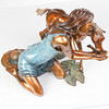 "Images of the bronze scupture work ""Invitation to the Pond"" by David Soderberg."