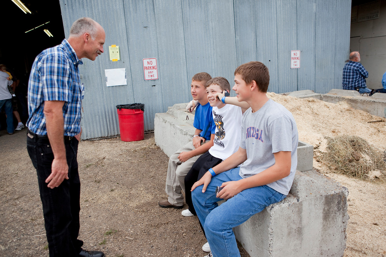 Photos of Gresham Bouma, candidate for Idaho Senate, taken at the Latah County Fair, in Sept 2010.