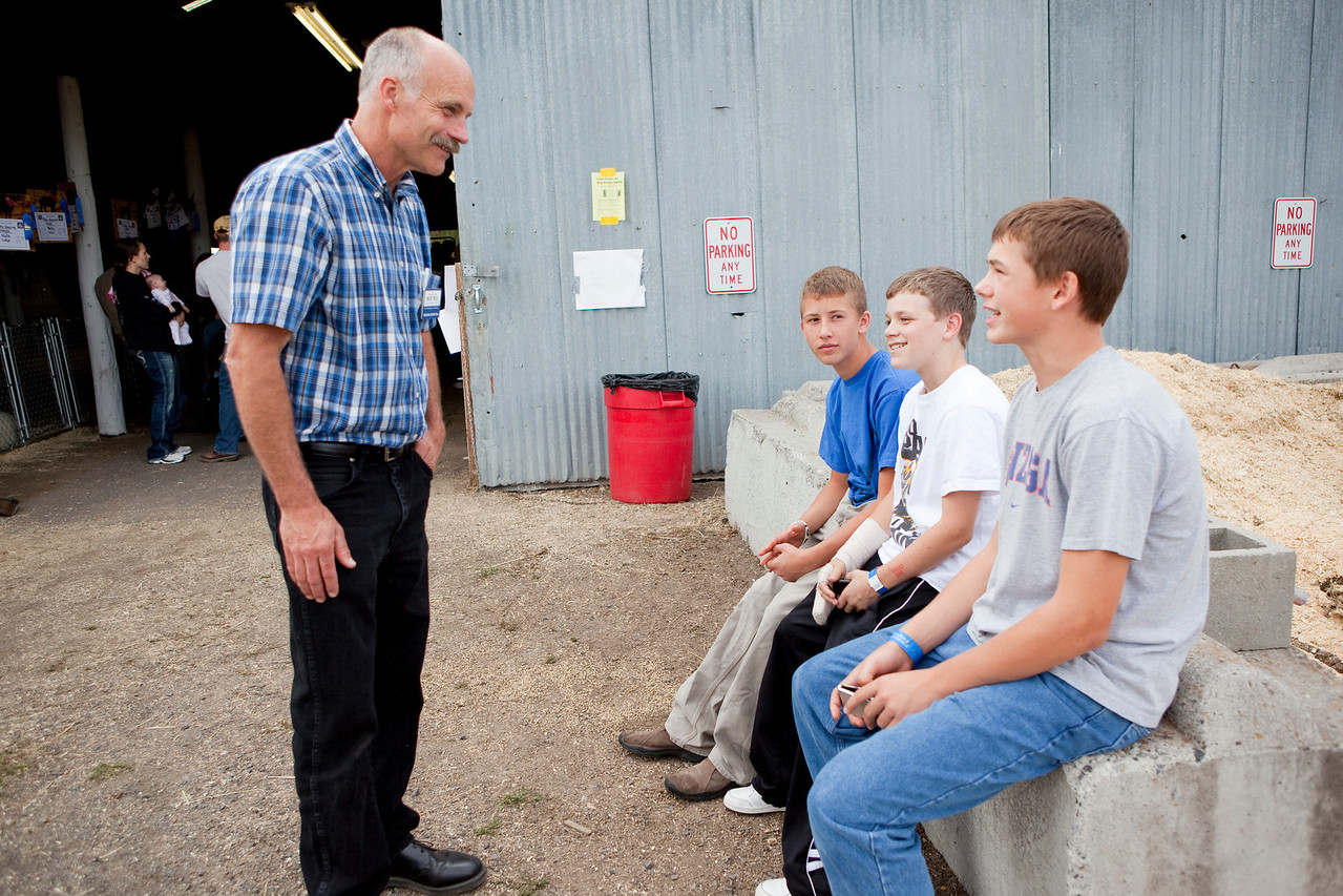 Photos of Gresham Bouma, candidate for Idaho Senate, taken at the Latah County Fair, in Sept 2010.