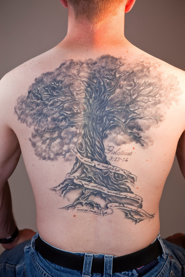 Matthew Breese's tattoo from Steve Franklin of Untamed Art Tattoo studio in Moscow, Idaho was a national prize winner in the before and after category, I believe.  Whatever the case, it's an impressive tattoo.