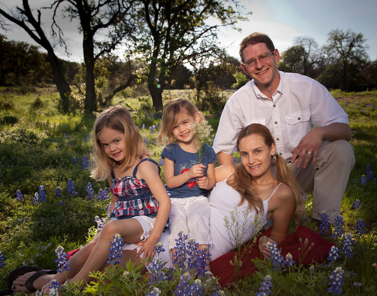 Family in bluebonnets