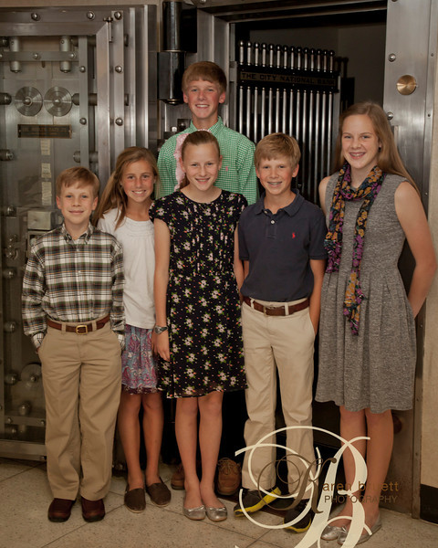 Candid event at bank, grabbed the grandchildren to do a quick photo beside the bank vault.