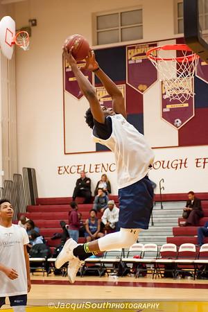 Elliott Brwon (13) from Flowers High School slam dunks at the CKA All-Star game.