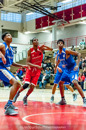 4/28/2016 - Capital Classic-Suburban v District, Tyjhal Byers (25) from B-CC in the lane for a rebound.