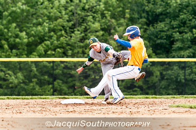 In the 5/9/2016 Damascus v Gaithersburg Baseball game Damascus 2nd baseman Mitchell Kline just misses the tag as Gaithersburg baserunner Aaron Vargas steals second in the 1st inning.