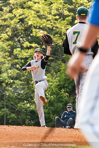 In the 5/9/2016 Damascus v Gaithersburg Baseball game Damascus 1st baseman George Lowe grabs a throw from 3rd baseman Eric Lansinger.