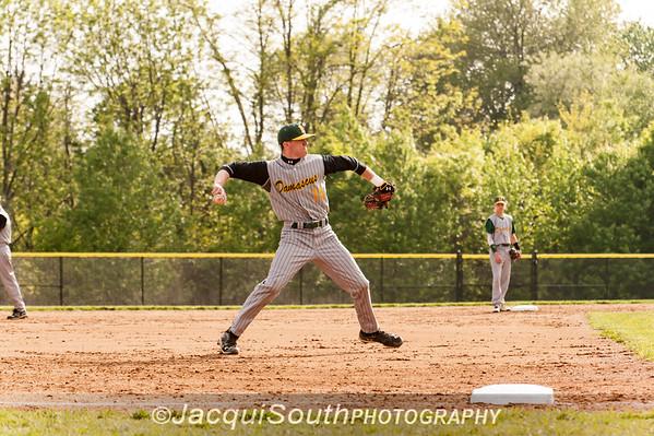 In the 5/9/2016 Damascus v Gaithersburg Baseball game Hornet 3rd baseman Eric Lansinger throws to 1st base.