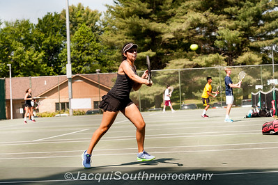 5/27/2016 - Mixed doubles champions Ethan Kowalski and Jessica Fatem (Walter Johnson HS) i in the Maryland High School Tennis Playoffs at Olney Manor Recreational Park.