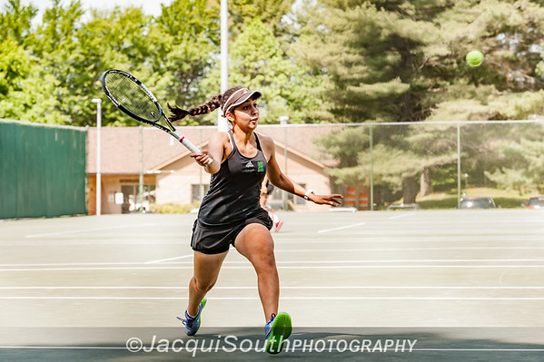 5/27/2016 - Mixed doubles champion Jessica Fatem with Ethan Kowalski  (Walter Johnson HS) i in the Maryland High School Tennis Playoffs at Olney Manor Recreational Park.
