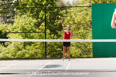 5/27/2016 - Girls doubles twin sister team Kathryn and Karlie Allen (Dorchester HS) in the Maryland High School Tennis Playoffs at Olney Manor Recreational Park.