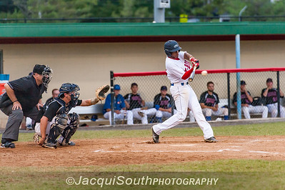 6/27/2016 - Grayland Fowler hits a single to centerfield in the 1st inning, Rockville Express v Silver Spring/Takoma Park Thunderbolts, ©2016 Jacqui South Photography