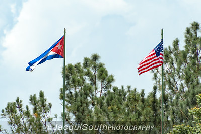 8/3/2016 - The Cuban and American flags side by side before the game between Pinar del Rio and Cal Ripken College Baseball League.