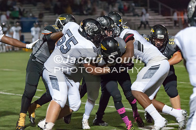 10/7/2016 - Richard Montgomery runningback Kristoper Ricks (21) surrounded by Northwest defenders, ©2016 Jacqui South Photography