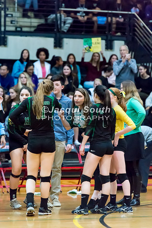 11/20/2016 - Coach Rebecca Ronquillo gives a pound to Sara Gruber (11) during a time out in the 3A Championship Volleyball game between Atholton and Damascus, ©2016 Jacqui South Photography