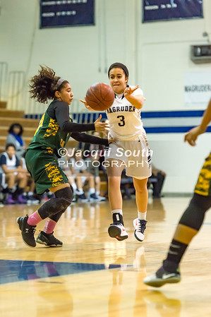 2/14/2017 - Magruder guard Kenz Baryoun (3) passes the ball guarded by Seneca Valley defender Nya Martinez (40) , ©2017 Jacqui South Photography