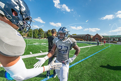 10/7/2017 - Georgetwon Prep half back Jalen Hampton (23) and William Hetherinton (3) celebrate on the sideline after Hamptons's 2nd touchdown, Benedictine v Georgetown Hoyas Football, Photo Credit: Jacqui South