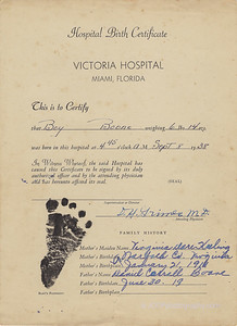 1938-09-08 Birth Certificate Louis B Boone