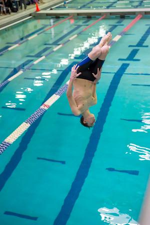 1/20/2018 - Ryan Keegan (Blake) dives a back dive with a 1/2 twist, Blake v Magruder Swim & Dive, ©2018 Jacqui South Photography
