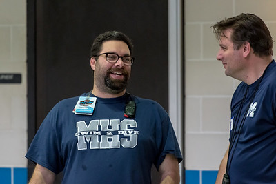 1/20/2018 - Magruder Coach Jeremy Snyder (left) and head timer Ben Powell, Blake v Magruder Swim & Dive, ©2018 Jacqui South Photography